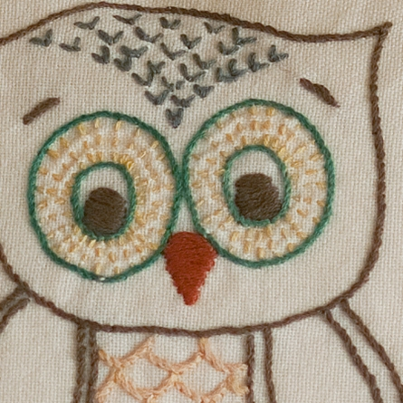 Owl Embroidered Pillow
