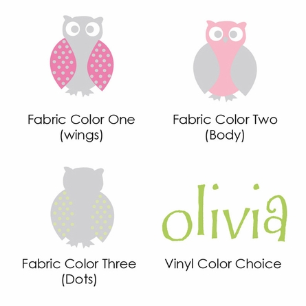 Owl Family Girl Fabric Wall Decal
