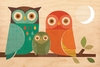 Owl Family Jumbo Wood Panel Art Print