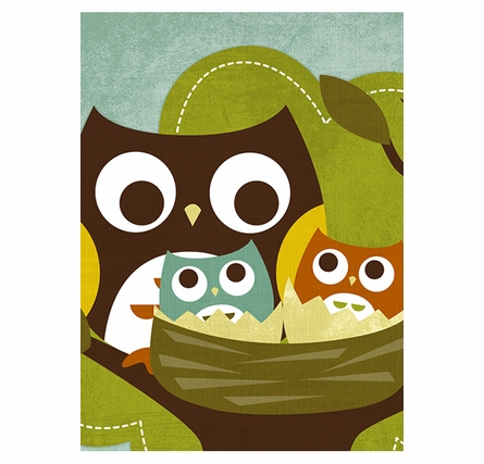 Owl Family Nest Canvas Reproduction
