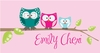 Owl Family Pink Canvas Wall Art