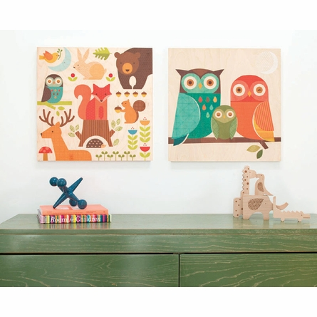 Owl Family Square Jumbo Wood Panel Art Print