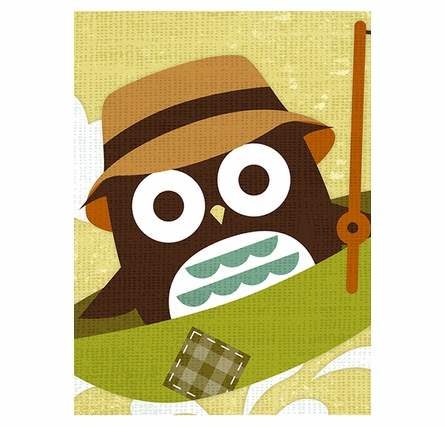 Owl Fisherman Canvas Reproduction