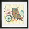 Owl & Foliage Framed Art Print