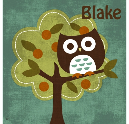 Owl In Fruit Tree Canvas Reproduction