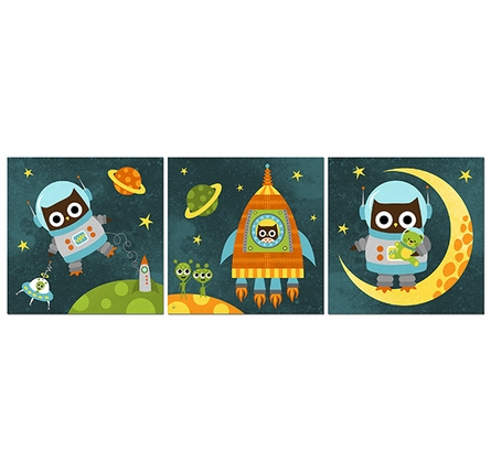 Owl In Space Canvas Reproduction