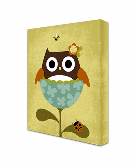 Owl In Tulip I Canvas Reproduction