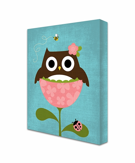 Owl In Tulip II Canvas Reproduction