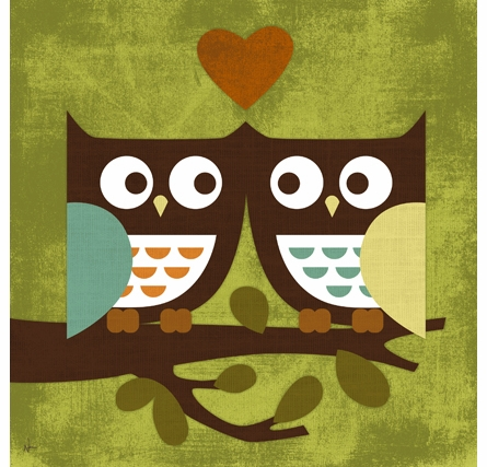 Owl Love Canvas Reproduction