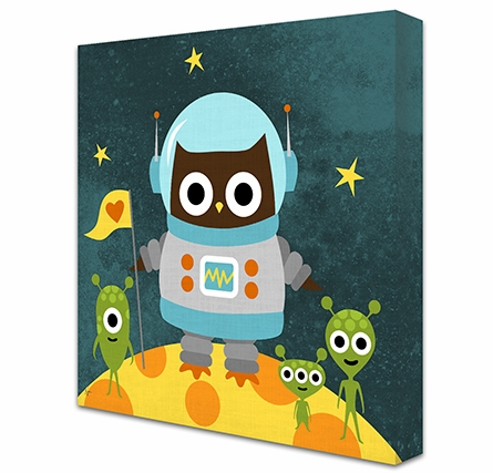 Owl Lunar Landing Canvas Reproduction