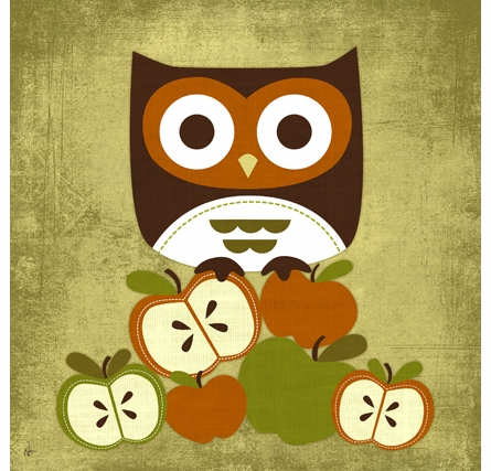 Owl On Apples Canvas Reproduction