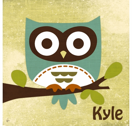 Owl On Branch Canvas Reproduction