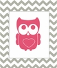 Owl on Chevron Canvas Reproduction