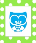 Owl on Dots Canvas Reproduction