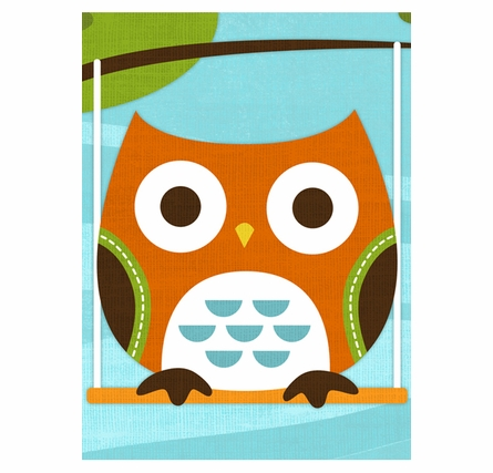 Owl On Swing Canvas Reproduction