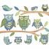 Owl Peel and Stick Wall Mural in Blue
