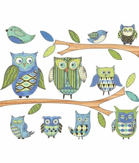 Owl Pre-Pasted Wall Mural in Blue