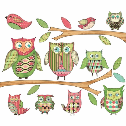 Owl Pre-Pasted Wall Mural in Pink