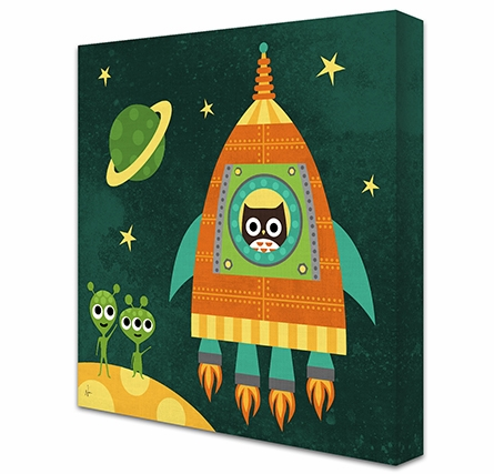 Owl Rocket Launch Canvas Reproduction