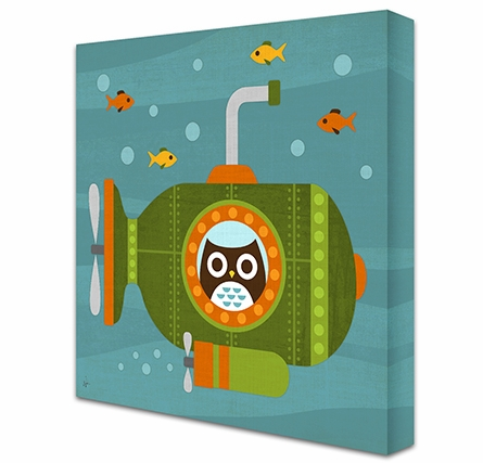 Owl's Submarine Adventure Canvas Reproduction