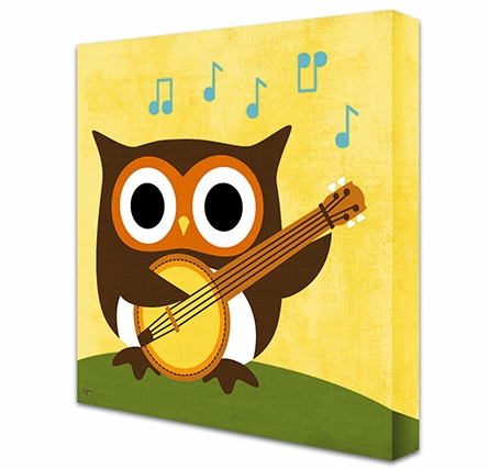 Owl Strummin' Banjo Canvas Reproduction
