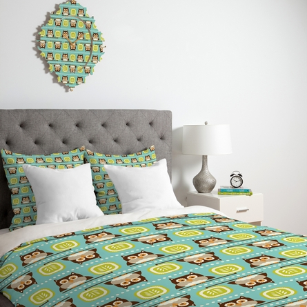 Owl Town Teal Luxe Duvet Cover