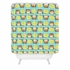 Owl Town Teal Shower Curtain