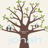 Owl Tree Blue Canvas Wall Art