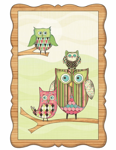 Owl Window Wall Mural in Pink