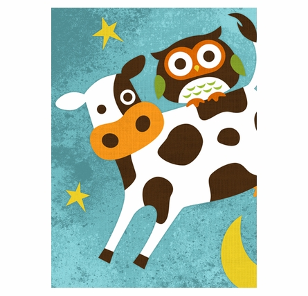 Owl With Cow Canvas Reproduction