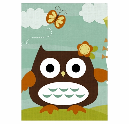 Owl With Kite Canvas Reproduction