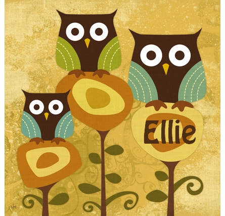 Owls In Bloom Canvas Reproduction