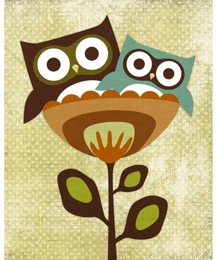 Owls In Flower Cup I Canvas Reproduction