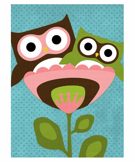 Owls In Flower Cup II Canvas Reproduction