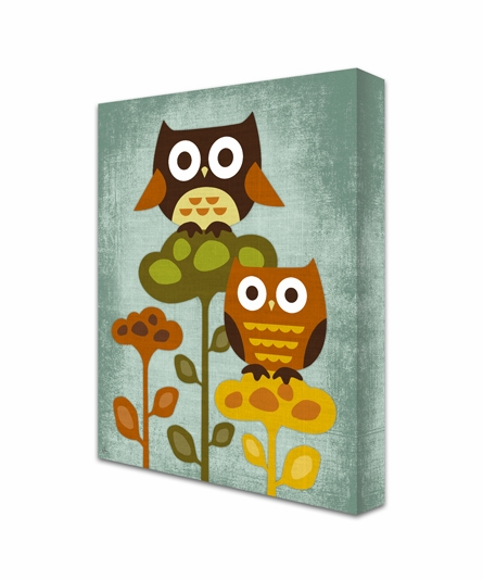 Owls On Flowers Canvas Reproduction