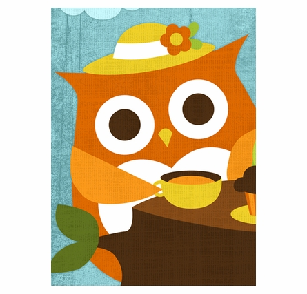 Owls Tea Time Canvas Reproduction