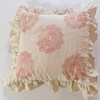 Oyster Linen Throw Pillow with Pink Floral Embroidery