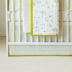 Painted Stripe Crib Skirt in Fern