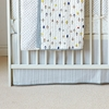 Painted Stripe Crib Skirt in Grey