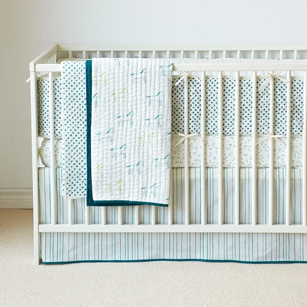 Painted Stripe Crib Skirt in Ocean