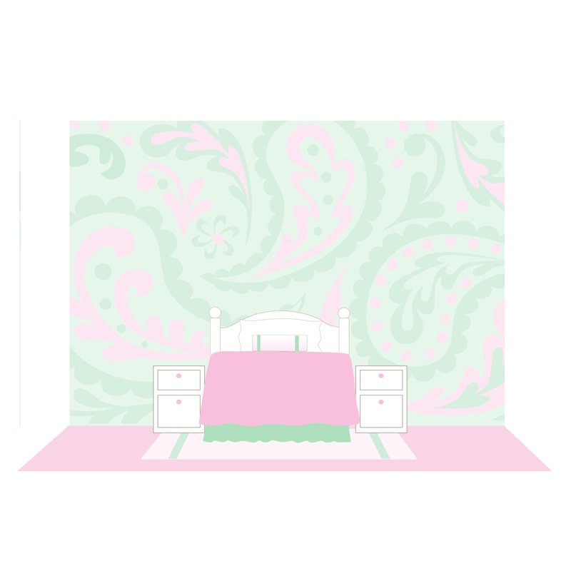 paisley paint by number wall mural by elephants on the wall. Black Bedroom Furniture Sets. Home Design Ideas