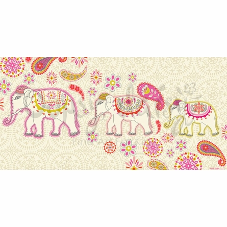 Paisley Parading Elephants Canvas Wall Art
