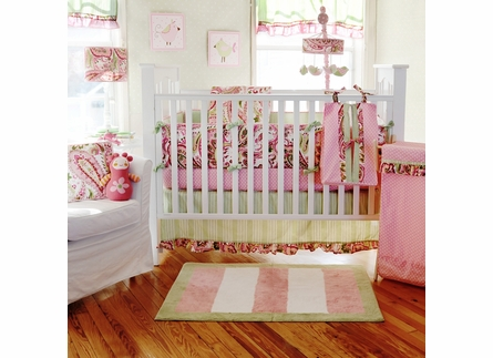 Paisley Splash in Pink Stripe Rug