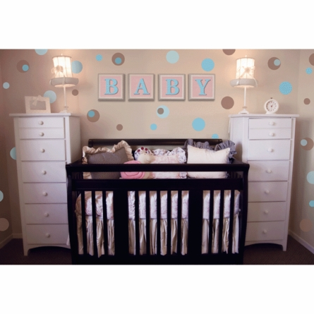 Pale Blue & Chocolate Brown Polka Dots Wall Stickers