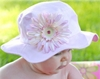 Pale Pink Sun Hat with Daisy