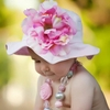 Pale Pink Sun Hat with Peony