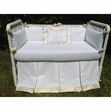Palm Beach White and Ivory Crib Bumper