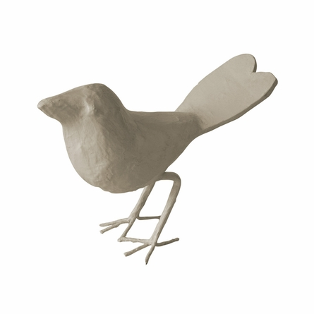 Papier Mache Bird Figurine with Heart Tail