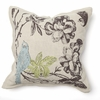 Paradise Flower with Embroidered Bluebird Throw Pillow