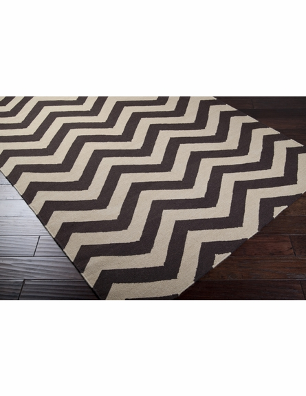 Parchment and Umber Chevron Frontier Rug